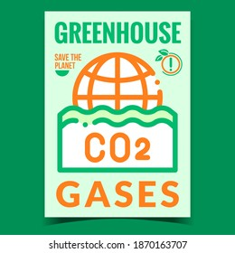 Greenhouse Gases Creative Promotion Banner Vector. CO2 Gases Emissions Ecology Environmental Problem Advertising Poster. Industrial Pollution Concept Template Style Color Illustration