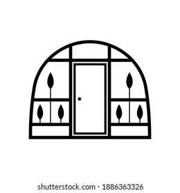 Greenhouse icon. Black contour silhouette. Front view. Vector flat graphic illustration. The isolated object on a white background. Isolate.