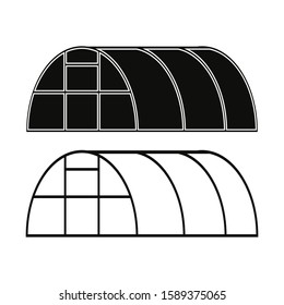 Greenhouse icon. Black silhouette and contour. Vector drawing. Isolated object on a white background. Isolate.