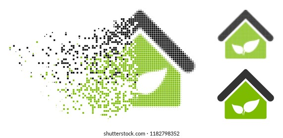 Greenhouse icon in dissolved, pixelated halftone and entire versions. Pixels are combined into vector disappearing greenhouse icon. Disappearing effect involves rectangular dots.