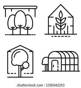 Greenhouse icons set. Outline set of greenhouse vector icons for web design isolated on white background