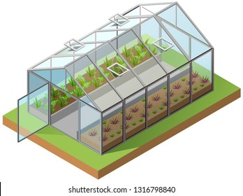 Greenhouse isometric 3d icon. Growing seedlings in glasshouse. Isolated on white vector illustration