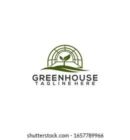 Greenhouse Leaf Logo Template Vector