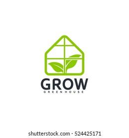 Greenhouse logo design vector. Green leaf illustration symbol. Home and leaf vector icons.