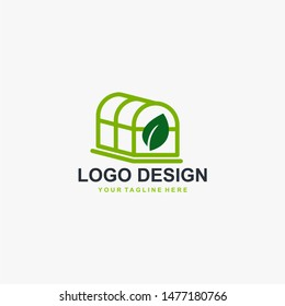 Greenhouse logo design vector. Plant care illustration symbol. Green leaf sign. Green house and leaf vector icons.