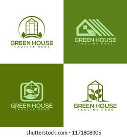 Greenhouse logo, Greenhouse icon, Green leaf logo