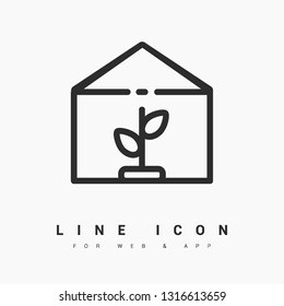 Greenhouse minimal icon. Conservatory line vector icon for websites and mobile minimalistic flat design.