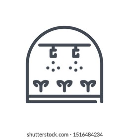 Greenhouse sprinkler line icon. Greenhouse irrigation system with sprouts vector outline sign.