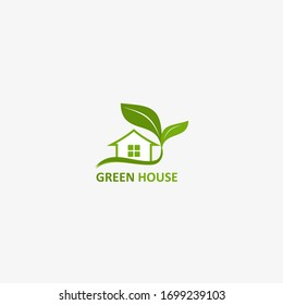 greenhouse vector design, home with leaf and tree, business real estate, gren , icons, logo, design template, vector illustrations