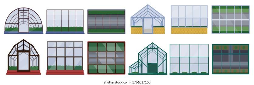 Greenhouse vector illustration on white background. Isolated cartoon set icon glasshouse. Vector cartoon set icon greenhouse