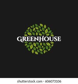 Greenhouse vector logo, Green leaf
