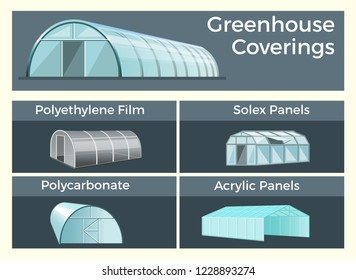Greenhouses coverings set. Vector illustration isolated on gray background