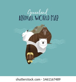 Greenland country map made of wild national animals. Diverse wildlife in land shape includes polar bear, walrus, seal, arctic fauna.