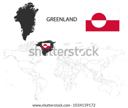Greenland denmark map on world map stock vector royalty free greenland denmark map on a world map with flag on white backgroundmap gumiabroncs Gallery