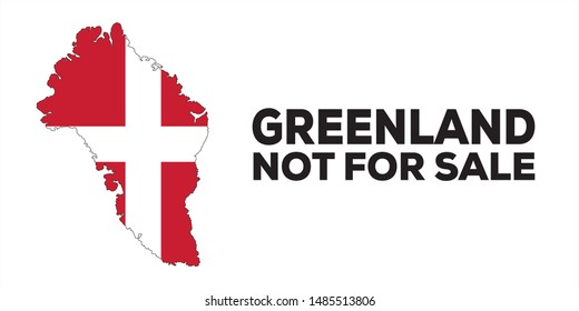 Greenland not for sale conceptual vector illustration. Usa wants to by Greenland from Denmark.