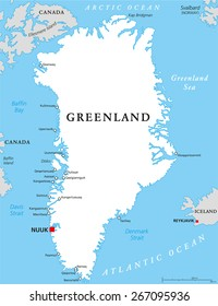 Greenland Political Map with capital Nuuk and important cities. Autonomous country within the Kingdom of Denmark. English labeling and scaling. Illustration.