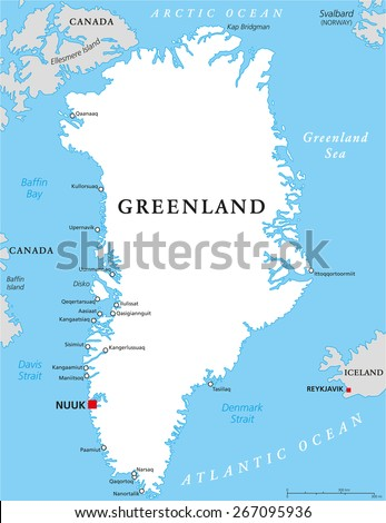 Greenland Political Map Capital Nuuk Important Stock Vector Royalty
