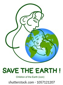 Greenpeace. Earth day. Protect world. Fashion Mother,baby shaped organic, ecology icons. Symbol green children Earth,lifestyle healthy. Save the earth,world vector. Renewable ,natural, ecological logo