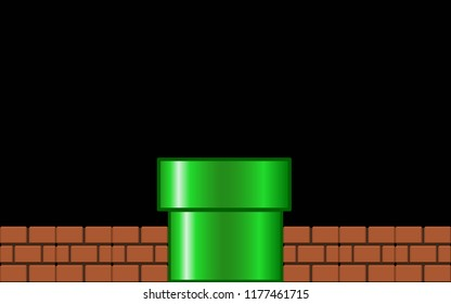 GreenPipe with brick on Black Background