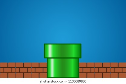 GreenPipe with brick on Blue Background