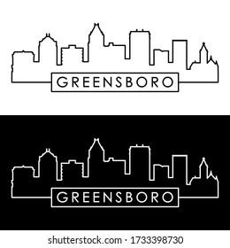 Greensboro skyline. Linear style. Editable vector file.