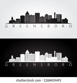 Greensboro USA skyline and landmarks silhouette, black and white design, vector illustration.