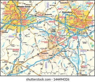 Greensboro and Winston-Salem, North Carolina area map