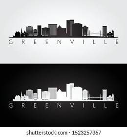 Greenville USA skyline and landmarks silhouette, black and white design, vector illustration.