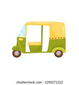 Green-yellow auto rickshaw, side view. Bajaj taxi or tuktuk. Traditional Bali transport. Cartoon vector design