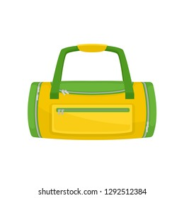 Green-yellow duffel bag with small pocket on front. Bag for carrying gym clothes and accessories. Flat vector icon