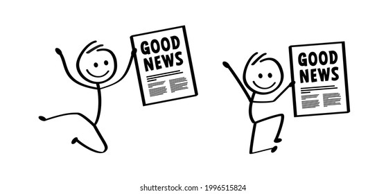 Greet news, breaking news. Cartoon stickman with good news and bad news. Vector stick figures. Fact or fake newspaper sign. Like or dislike banner. Possitive, motivation and inspiration tabloid letter