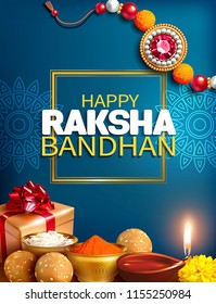 Greeting background with decorated rakhi, gift and aarti for Raksha Bandhan (Bond of protection and care) – Indian festival of sisters and brothers. Vector illustration.