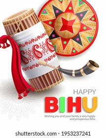 Greeting background with drum (dhol, onoinya) decorated with gamosa, japi (bamboo hat) and pepa (horn) for North Indian Assamese New Year (and harvest) festival Rongali (Bohag) Bihu. Vector.