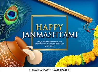 Greeting background for Hindu festival Krishna Janmashtami (birth of Lord Krishna).