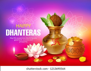 Greeting background with kalash, diya and gold coins for Indian festival Dhanteras (Diwali season). Vector illustration.