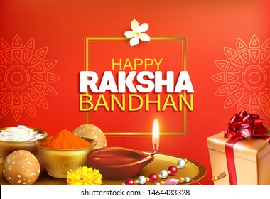 Greeting background with pooja thali (tray), rakhi (bracelet), and gift for Raksha Bandhan (Bond of protection and care) – Indian festival of sisters and brothers. Vector illustration.