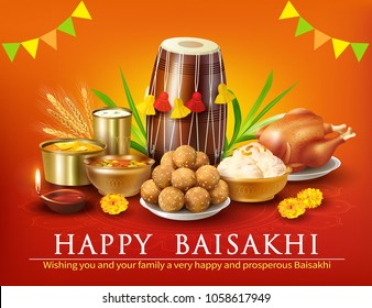 Greeting background with traditional food and dhol for Punjabi festival Baisakhi (Vaisakhi). Vector illustration.