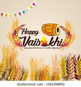 Greeting background with traditional food and dhol for Punjabi festival Vaisakhi (Baisakhi) Punjabi celebration elements and stylish text of Happy Vaisakhi - Vector