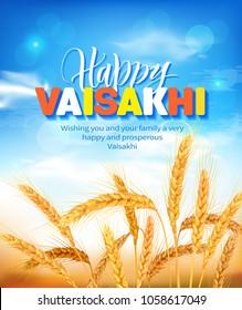Greeting background with wheat field for Punjabi harvest festival Vaisakhi (Baisakhi). Vector illustration.