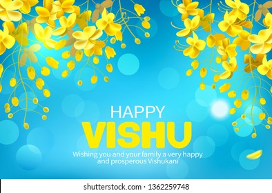 Greeting banner with konna flowers (cassia fistula) for South Indian New Year festival Vishu (Vishukani). Vector illustration.