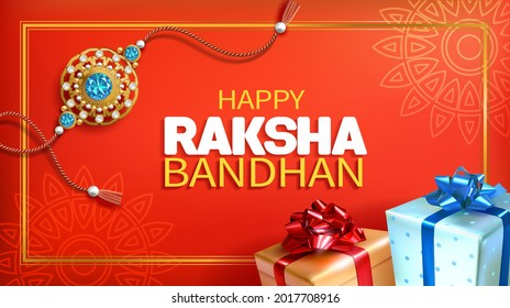 Greeting banner with rakhi (bracelet), and gifts for Raksha Bandhan (Bond of protection and care) – Indian festival of sisters and brothers. Vector illustration.