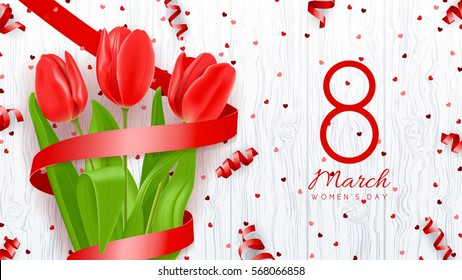 Greeting banner with red tulips. 8 March - International Women's Day. Background with flowers and satin ribbons on wooden texture. Vector illustration with confetti.