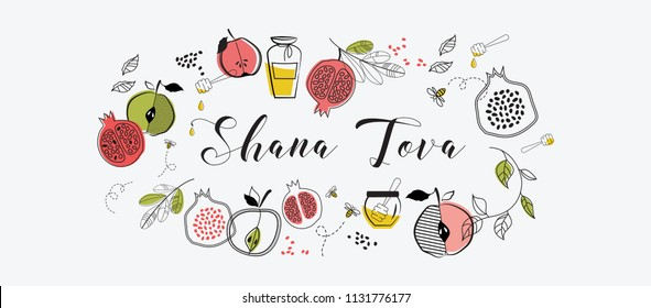 greeting banner with symbols of Jewish holiday Rosh Hashana , New Year. blessing of Happy new year, shana tova. vector illustration template