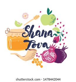 Greeting banner with symbols of Jewish holiday Rosh Hashana, New Year. Shana Tova - Blessing of Happy and sweet new year. Vector illustration design with hand-drawn lettering.