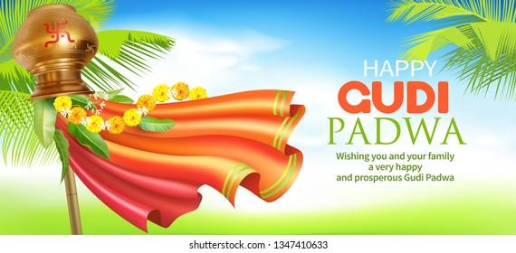 Greeting banner with traditional symbol Gudhi for Indian New Year festival Gudi Padwa (Ugadi, Yugadi). Vector illustration.