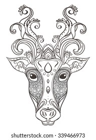 Greeting Beautiful card with Cow. Frame of animal made in vector. Perfect cards, or for any other kind of design, Happy Pongal .Seamless hand drawn map with cow.