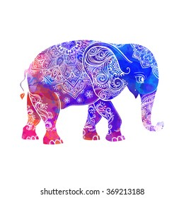 Greeting Beautiful card with Elephant. Frame of animal made in vector. Hippie Style. Elephant Illustration for design, pattern, textiles. Hand drawn map with