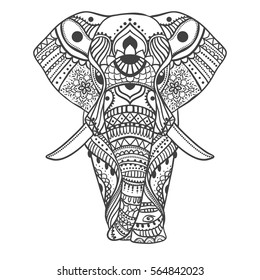 Greeting Beautiful card with Elephant. Frame of animal made in vector. Illustration for design, pattern, textiles. Hand drawn map with Elephant and mandala. Use for children clothes, pajamas