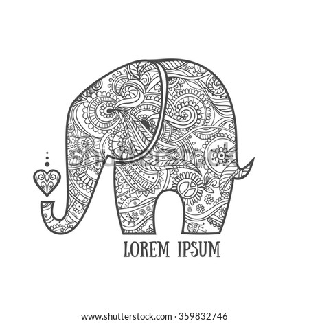 Greeting Beautiful Card Elephant Frame Animal Stock Vector (Royalty ...