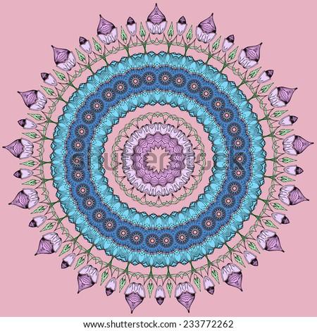 Greeting Beautiful Card Floral Mandala Frame Stock Vector Royalty